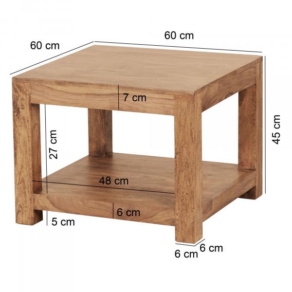 WOHNLING Couchtisch MUMBAI Massiv-Holz Akazie 60 x 60 cm Wohnzimmer-Tisch