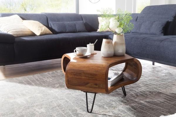 WOHNLING Couchtisch 55x38x55 cm Sheesham Massiv Holz Ablage & Metallgestell | Retro