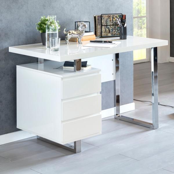WOHNLING Design Schreibtisch PATTY 115x60x76 cm Groß Weiß Hochglanz Computertisch | Bürotisch 115 cm
