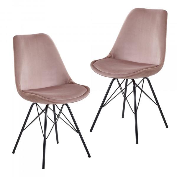 WOHNLING Esszimmerstuhl 2er Set Samt Rosa Küchenstuhl mit schwarzen Beinen