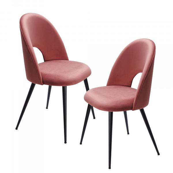 WOHNLING Esszimmerstuhl 2er Set Samt Rot Küchenstuhl mit Schwarzen Beinen