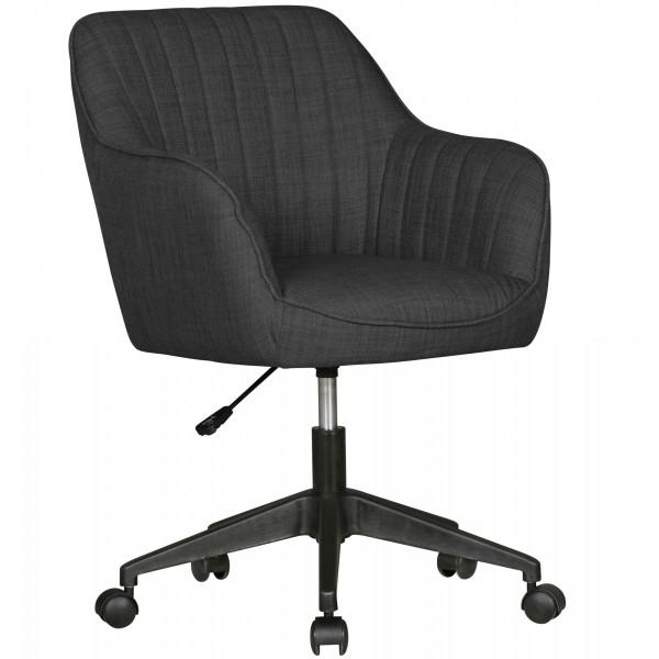 AMSTYLE Schreibtischstuhl MARA Anthrazit Stoff Design Drehstuhl mit Lehne 120 kg | Retro Bürostuhl