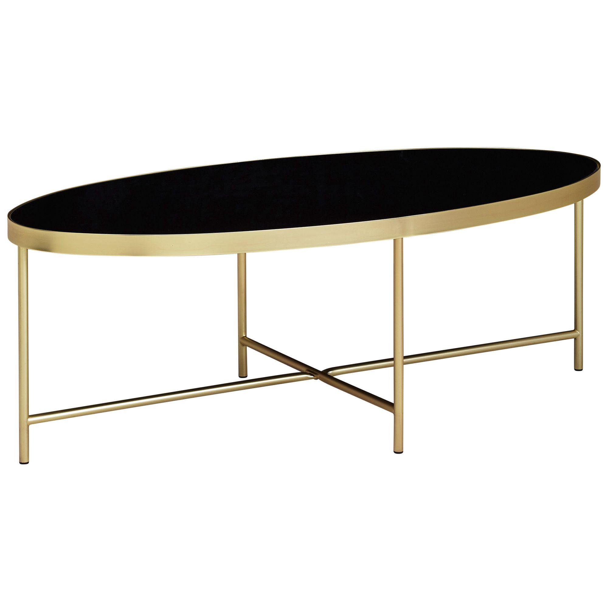 Wohnling Design Couchtisch Glas Schwarz Oval 110 X 56 Cm Mit Gold Metallgestell