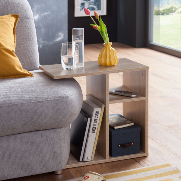 WOHNLING Beistelltisch MILO Holz Sonoma Design Anstelltisch Sofa