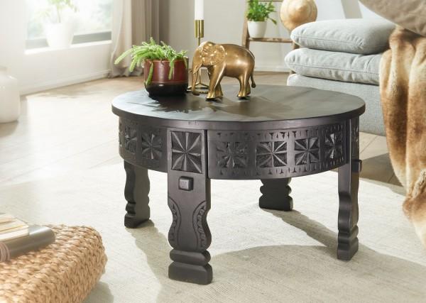 WOHNLING Design Couchtisch 60x36x60 cm Mango Massivholz Sofatisch Rund Schwarz orientalisch