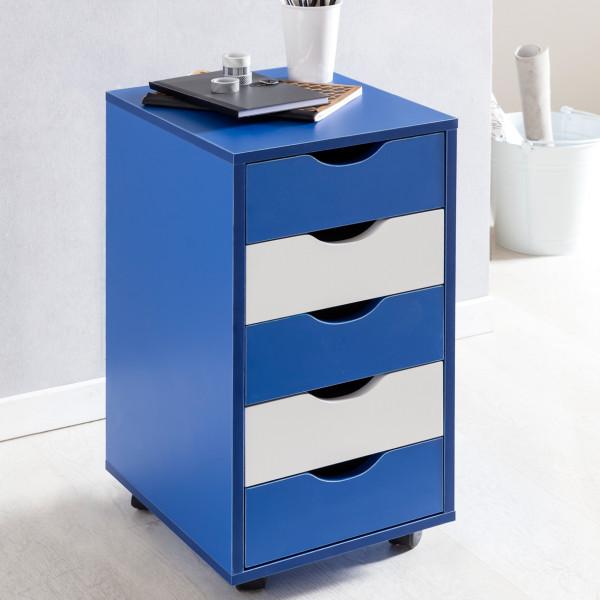WOHNLING Rollcontainer MINA MDF-Holz 5 Schubladen blau / weiß Kinder