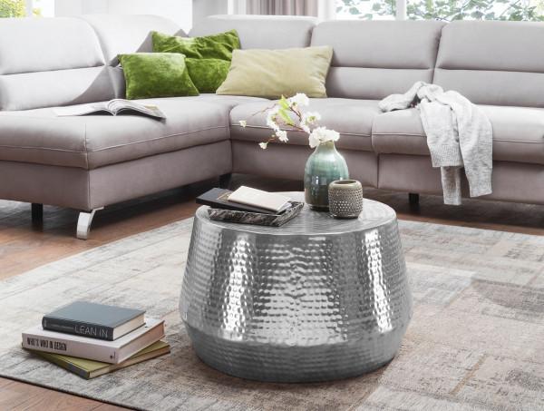 WOHNLING Couchtisch MAHESH 60x36x60 cm Aluminium Beistelltisch Silber Orientalisch Rund