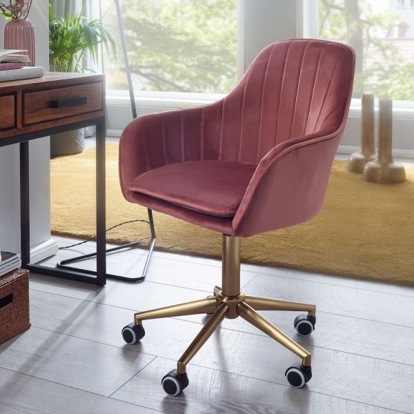 AMSTYLE Schreibtischstuhl Samt Rosa Design Drehstuhl mit Lehne
