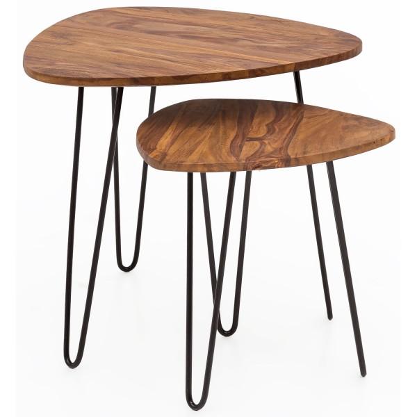 WOHNLING Design 2-Satztisch Sheesham Metall Beistelltisch 2er Set Klein | Couchtisch Set