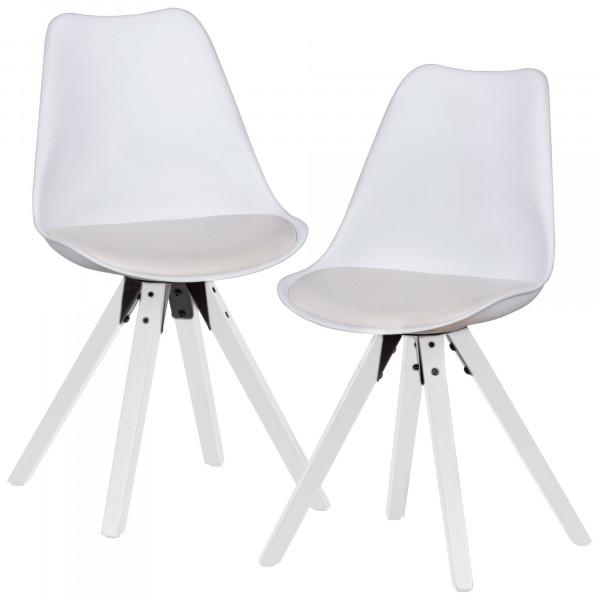 WOHNLING 2er Set Retro Esszimmerstuhl weiß mit weißen Beinen