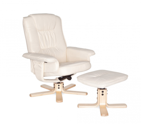 AMSTYLE Fernsehsessel COMFORT TV Design Relax-Sessel Bezug Kunstleder Creme drehbar mit Hocker