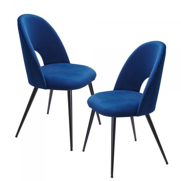 WOHNLING Esszimmerstuhl 2er Set Samt Blau Küchenstuhl mit Schwarzen Beinen