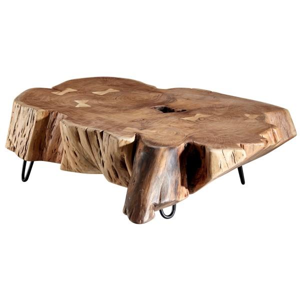 WOHNLING Couchtisch NAKUR 104x30x69 cm Akazie Vollholz Design Wohnzimmertisch | Tisch Stubentisch
