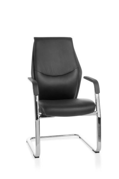 AMSTYLE Freischwinger OXFORD Meetingstuhl Bezug Echt-Leder Schwarz Schwingstuhl XXL Chrom 120kg