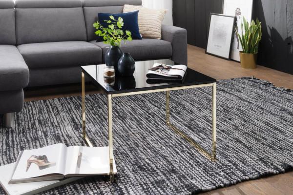 WOHNLING Couchtisch RIVA 60x50x60 cm Metall Holz Sofatisch Schwarz / Gold | Design Wohnzimmertisch