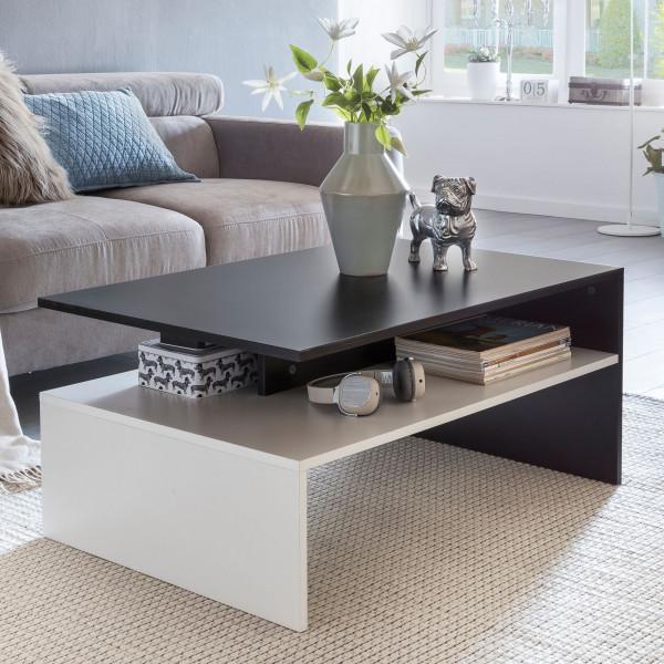 WOHNLING MURPHY Wohnzimmertisch mit Ablage Schwarz / Weiß