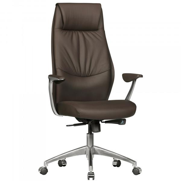 AMSTYLE Bürostuhl OXFORD 1 Echtleder Braun Schreibtischstuhl X-XL 120 kg Synchronmechanik Chefsessel