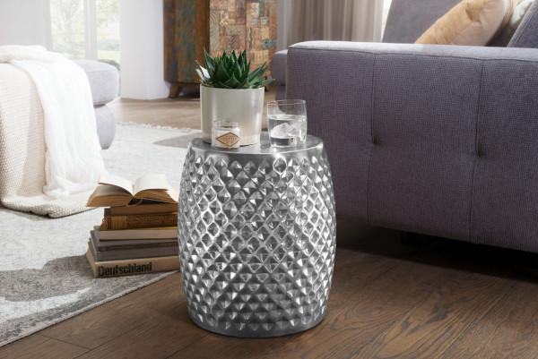 WOHNLING Beistelltisch SITA Aluminium Anstelltisch Silber Orientalisch Rund