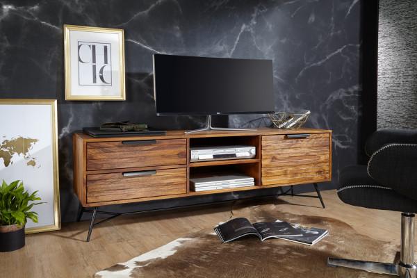 WOHNLING Lowboard NISHAN 160x54x40 cm Sheesham Massiv Holz | Design Hifi-Board mit Stauraum