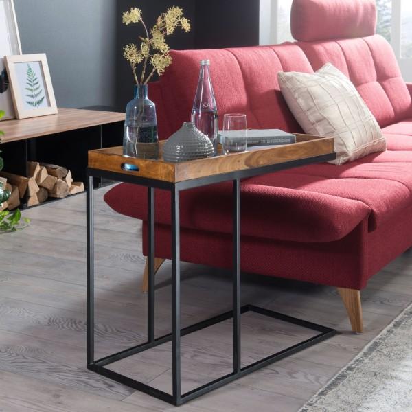WOHNLING Beistelltisch Sheeshamholz 70x65x34 cm mit Metallgestell | Design TV-Tray