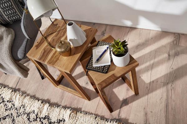 WOHNLING 2er Set MUMBAI Beistelltisch Massivholz Sheesham Design Wohnzimmer-Tisch eckig Nachttisch S