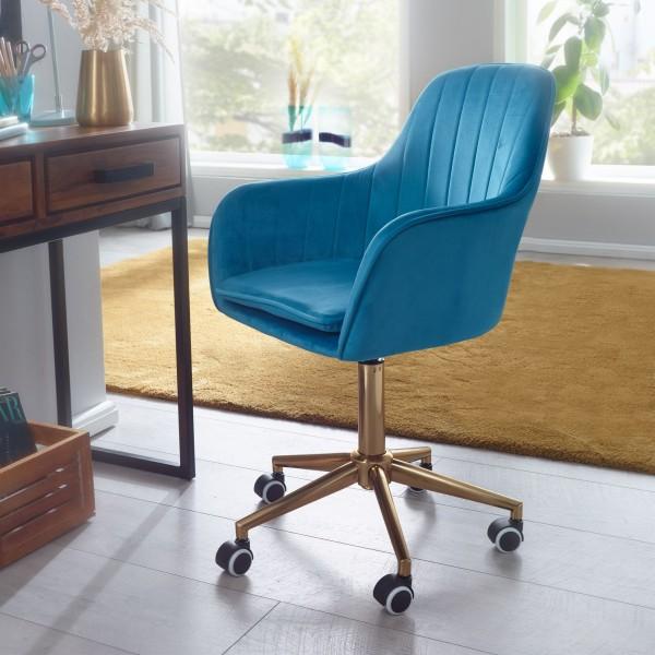 AMSTYLE Schreibtischstuhl Samt Blau Design Drehstuhl mit Lehne