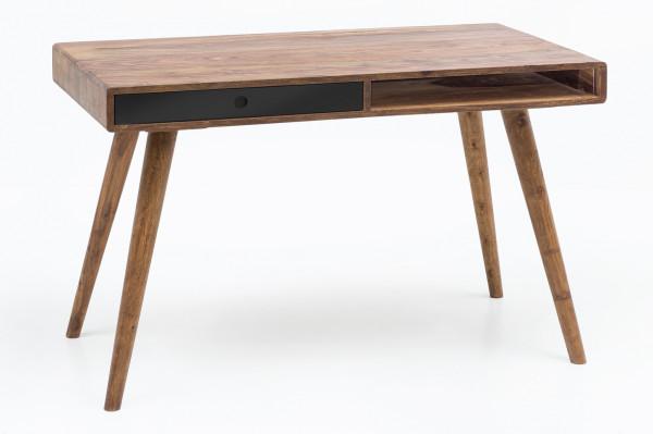 WOHNLING Schreibtisch REPA schwarz 120 x 60 x 75 cm Massiv Holz