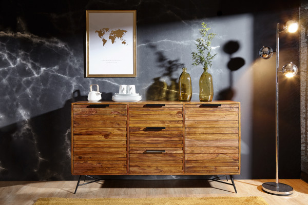 WOHNLING Design Sideboard NISHAN 160 x 40 x 88 cm Sheesham Massiv Holz   Kommode mit Türen
