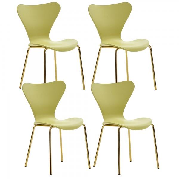 WOHNLING Design Esszimmerstuhl 4er-Set Gelb Kunststoff mit goldenen Metallbeinen Küchenstuhl
