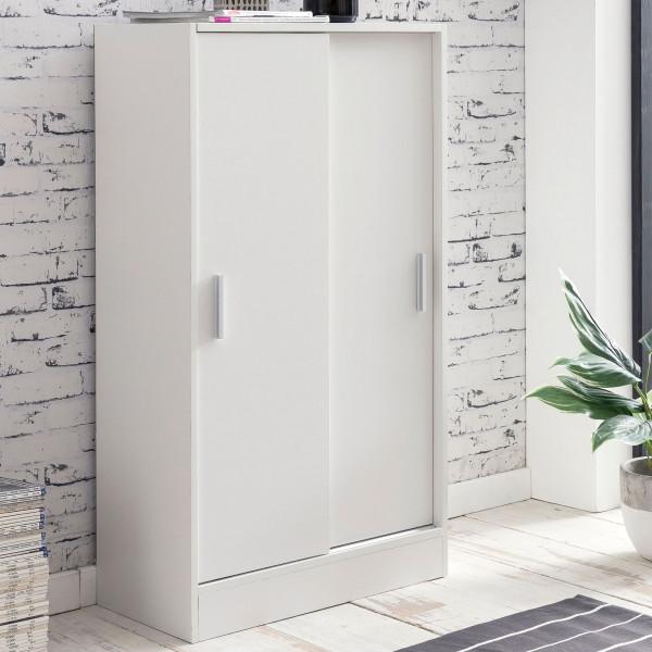 WOHNLING Aktenschrank Fina 60 x 107,5 x 28,5 cm Weiß | Design Mehrzweckschrank | Büroschrank