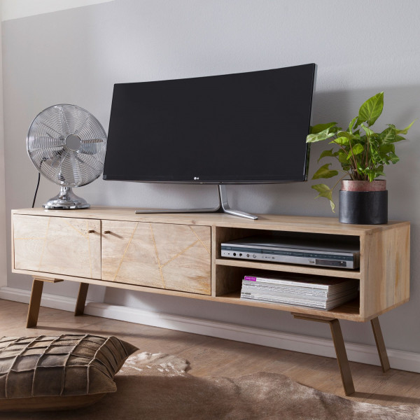 WOHNLING HiFi Lowboard SIKAR Mango Massivholz Landhaus TV Kommode 145x47x35cm | Fernsehschrank