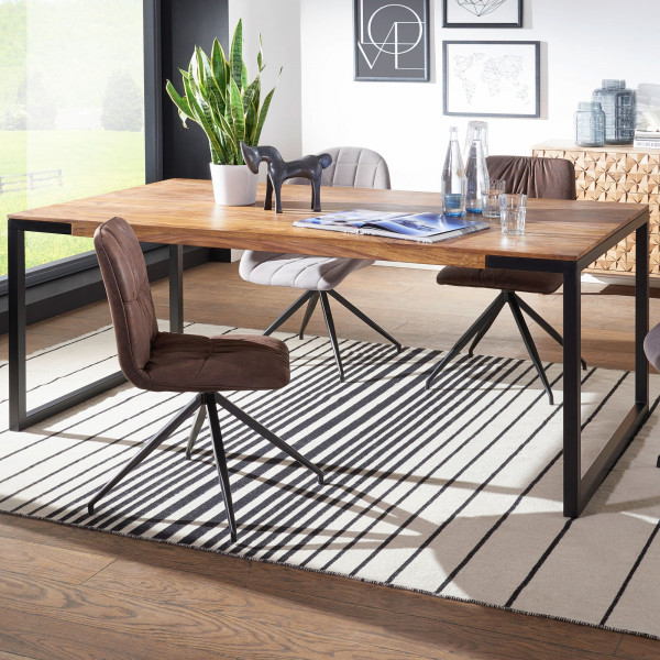 WOHNLING Esstisch 190x100x76 cm GOYAR Sheesham Holztisch mit Metallbeinen | Massiver Esszimmertisch