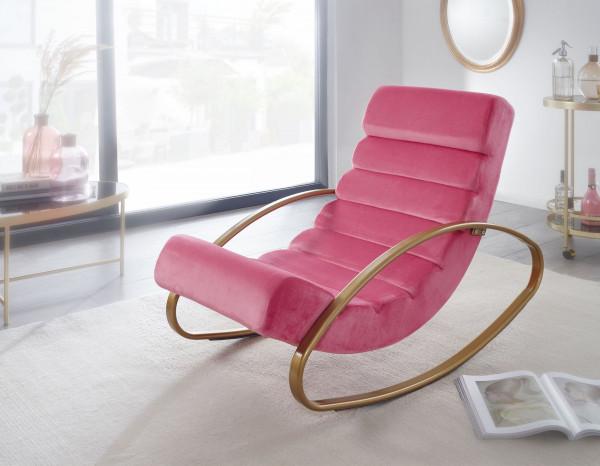 WOHNLING Relaxliege Samt Rosé / Gold 110 kg Belastbar Relaxsessel
