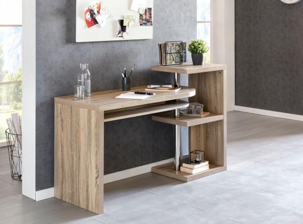 WOHNLING Schreibtisch LARRY 145x50x94 cm Bürotisch mit Regal Sonoma | Winkelschreibtisch
