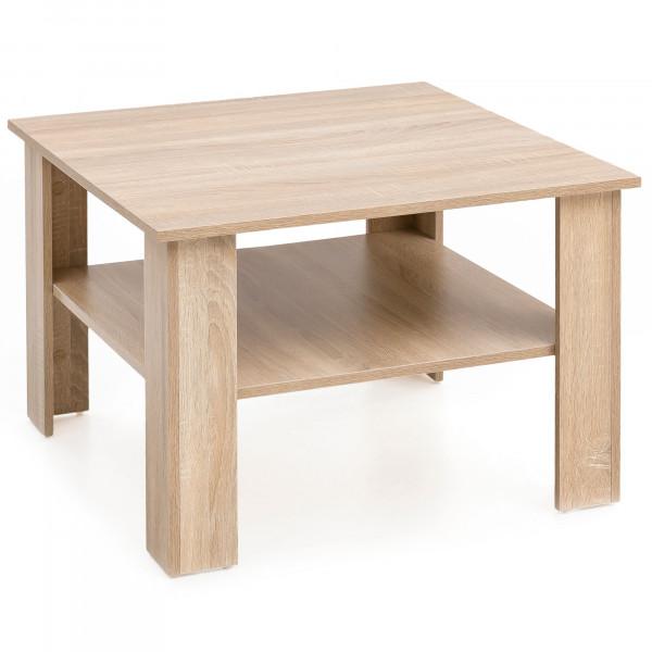 WOHNLING Couchtisch Gina Sonoma Eiche 60x42x60 cm Design Holztisch mit Ablage | Wohnzimmertisch