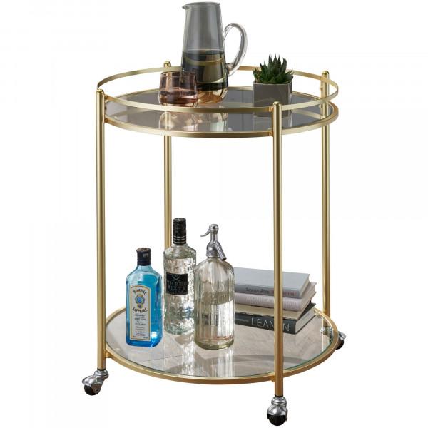WOHNLING Design Servierwagen JAMES Gold Ø 57 cm Beistelltisch   Teewagen Metall mit Rollen