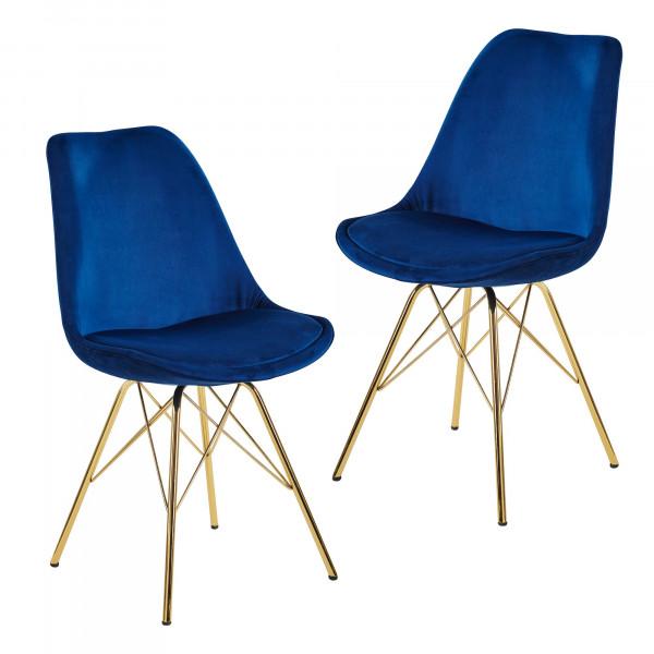 WOHNLING Esszimmerstuhl 2er Set Samt Blau Küchenstuhl mit goldenen Beinen