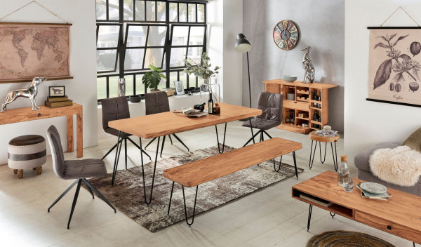 WOHNLING Esszimmer Sitzbank BAGLI Massiv-Holz Akazie 160 x 45 x 40 cm