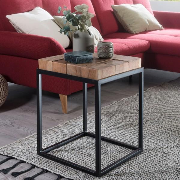 WOHNLING Beistelltisch ANDUR 39x56x39cm Akazie / Metall Couchtisch Massivholz   Wohnzimmertisch