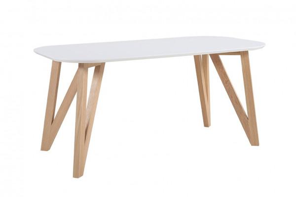 Skandi Design Esstisch 200x90 cm weiß Eiche