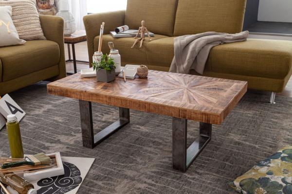 WOHNLING Moderner Couchtisch Mango Massivholz 105x40x55 cm Tisch im Industrial Design