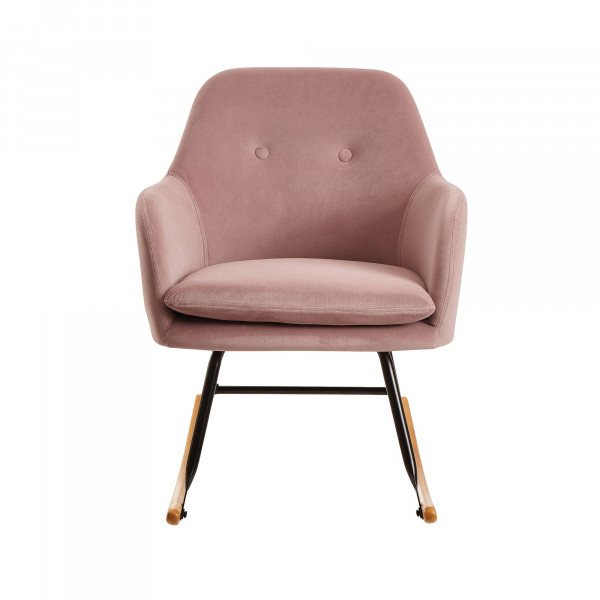 WOHNLING Schaukelstuhl Rosa Design Relaxsessel Samt / Holz