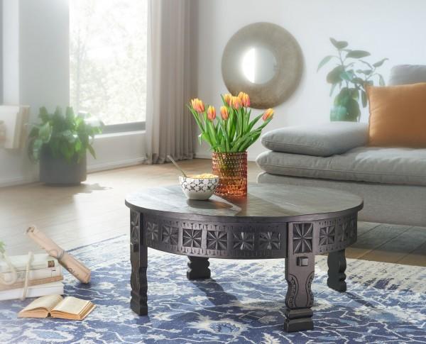 WOHNLING Design Couchtisch 80x36x80 cm Mango Massivholz Sofatisch Rund Schwarz orientalisch
