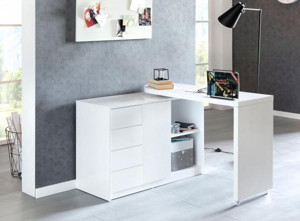WOHNLING Schreibtisch NAOMI 166x42x77 cm Groß Weiß Hochglanz Computertisch | Bürotisch 115 cm Breit