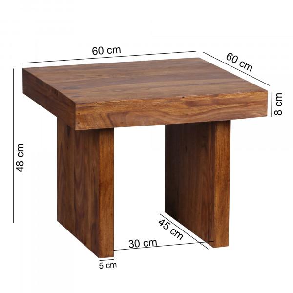 WOHNLING Beistelltisch MUMBAI Massiv-Holz Sheesham 60 x 60 cm Wohnzimmer-Tisch