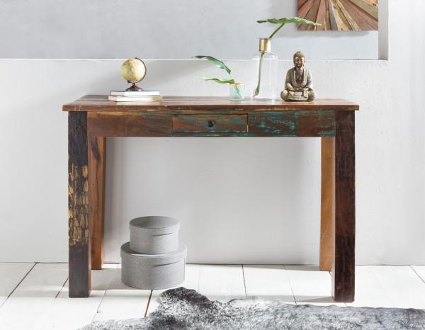 WOHNLING Konsolentisch RIVERBOAT | Massivholz Schreibtisch mit Schubalde