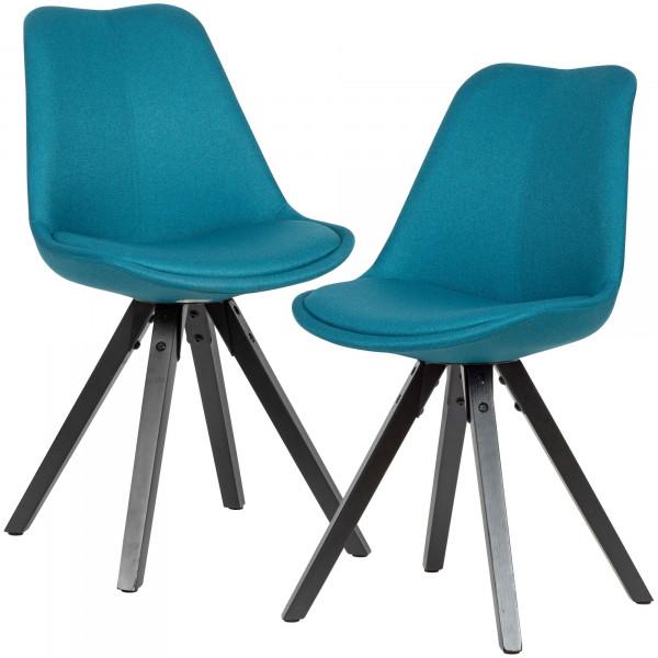 WOHNLING 2er Set Esszimmerstuhl Petrol mit schwarzen Beinen Stuhl Skandinavisch