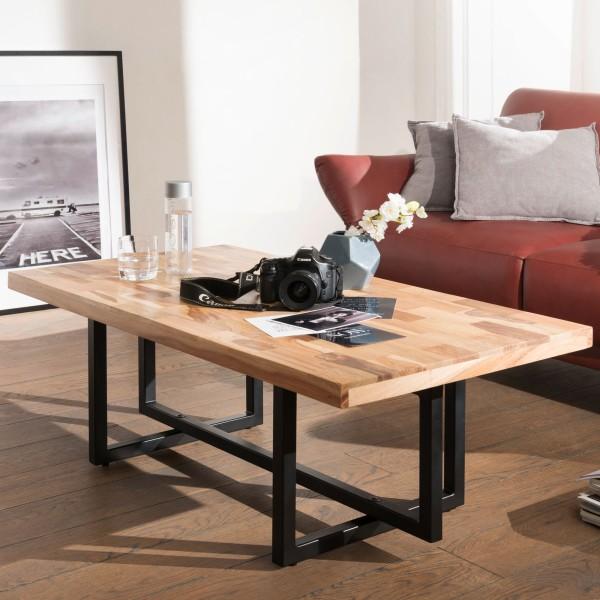 WOHNLING Couchtisch KANAM 115x42x60 cm Massivholz / Metall Sofatisch | Design Wohnzimmertisch Akazie