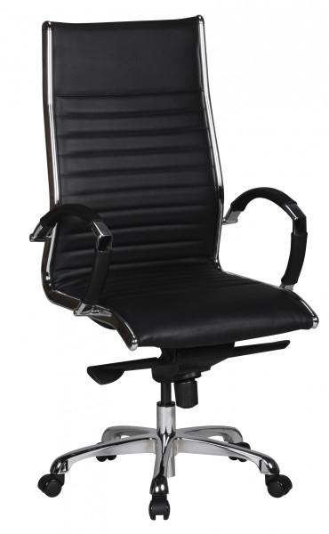 AMSTYLE Bürostuhl SALZBURG 1 Bezug Echtleder Schwarz Schreibtischstuhl XXL 120kg Chefsessel