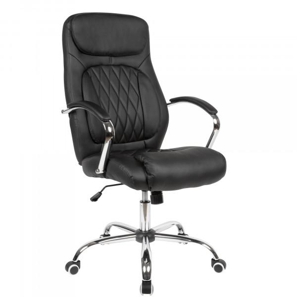 AMSTYLE Schreibtischstuhl Bezug Kunstleder Schwarz Bürodrehstuhl bis 120 kg